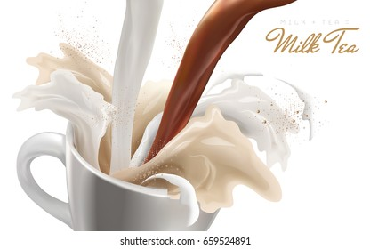 exaggerating flow effect, milk and black tea pouring down and spilled, 3d illustration