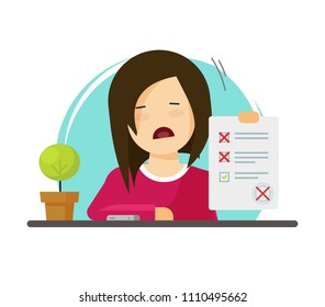 Exam paper form with failed assessment illustration, unhappy character pupil and incorrect answers survey, bad mark of test results, unsuccessful study report, flat cartoon education list image