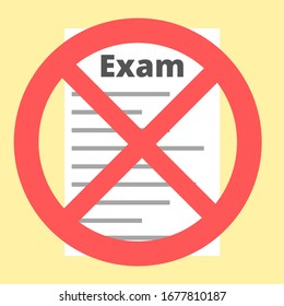 Exam paper with a red cross on top on a yellow background. Exam cancelled, no tests concept. Simple flat color illustration.