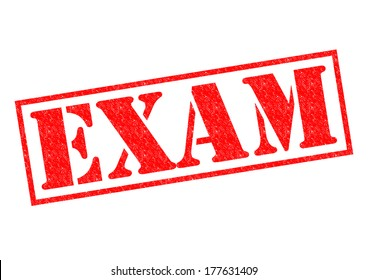 EXAM red Rubber Stamp over a white background.