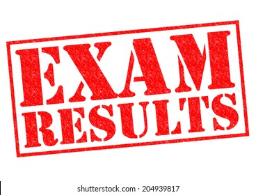 EXAM RESULTS red Rubber Stamp over a white background.