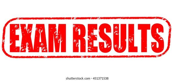 exam results stamp on white background.