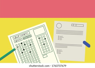 exam sheet with filled out scantron
