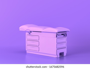 exam table flat, Medical equipment in flat monochrome purple room, 3d rendering, isolated hospital objects