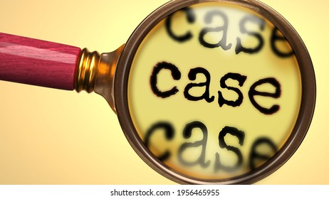 Examine and study case, showed as a magnify glass and word case to symbolize process of analyzing, exploring, learning and taking a closer look at case, 3d illustration