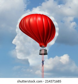 Examining the brain medical concept or business metaphor as a man climbing or descending a ladder to an air balloon shaped as a human brain as a symbol for the freedom of intelligent thinking.