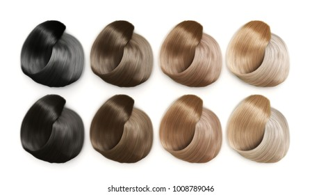 Example of different hair colors 3d render on white