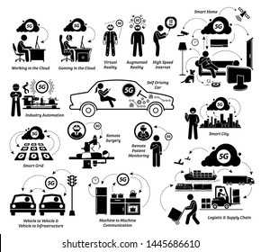 Examples of 5G usages with Internet of Things and list of possible applications. Illustrations artwork depicts how information technology can evolve with 5G technology in a futuristic world.