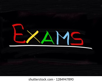 Exams handwritten on a blackboard