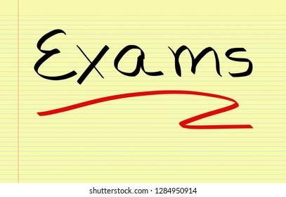 Exams handwritten on a notebook paper