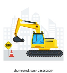 Excavator for construction. Flat cartoon illustration. Objects isolated on a white background.
