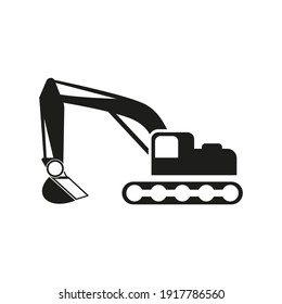 Excavator icon. Construction machinery symbol.