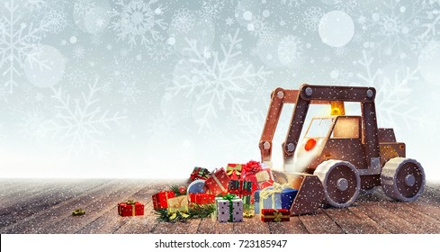 Excavator toy with Christmas presents 3D Rendering, 3D Illustration