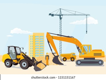 Excavator and wheel loader at the construction site