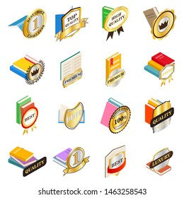 Excellent book icons set. Isometric set of 16 excellent book icons for web isolated on white background