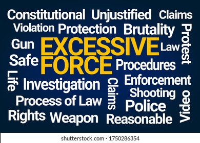 Excessive Force Word Cloud on Blue Background