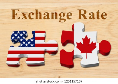 The exchange rate from the US dollar to the Canadian dollar, Two puzzle pieces with the flags of USA and Canada on wood with text Exchange Rate 3D Illustration