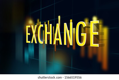Exchange text on a global stock exchange market scene with financal charts and graphs against dark background. 3D Rendering.