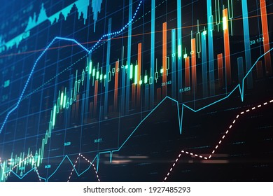 Exchange trading in action: digital screen with stock market chart, financial graphs and diagram. 3D rendering
