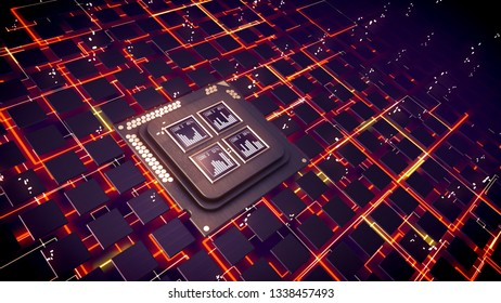 Exciting 3d illustration of CPU squares with bar charts beaming inside. Plexus of rectangular and multilayered communication links sparkling brightly in the black backdrop.