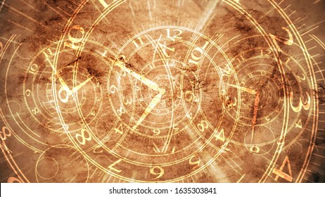 Exciting 3d illustration of three old spiral clocks with golden Arabic numbers imposed on a light brown pergament. Some old symbols are seen too.