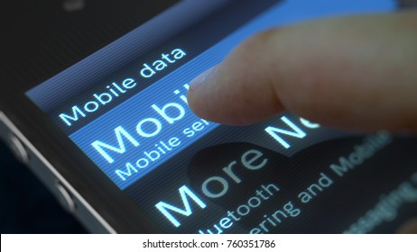 An exciting 3d rendering of a mobile phone with shimmering inscription Mobile data and Mobile Networks icon. The finger is going to press the button. The phone is placed aslant.