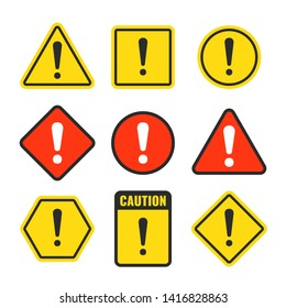 Exclamation mark beware icons. Attention and caution signs. Hazard warning symbol isolated. Illustration of danger and beware symbol, attention risk