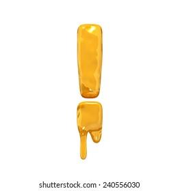 Exclamation mark. Honey alphabet isolated over white. Orange liquid splash alphabet.