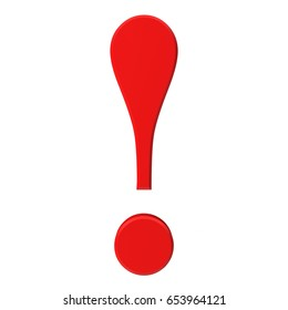 exclamation point exclamation mark punctuation character 3d red rendering illustration isolated on white background in high resolution for business presentation and print