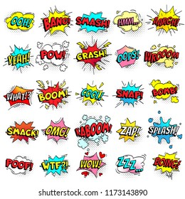 Exclamation texting comic signs on speech bubbles. Cartoon crash, pow, bomb, wham, oops and cool comic sign set. Funny comics words  collection
