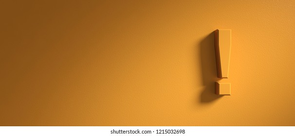 Exclamation or warning concept. Exclamation mark on orange wall background, banner, copy space. 3d illustration