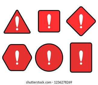 Exclamation and warning red symbol set. Attention exclamation sign risk, triangle safety, caution security, illustration