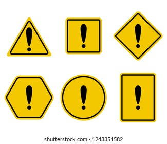 Exclamation and warning sign set. Attention triangle safety symbol of set, caution and alert. illustration