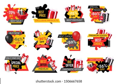 Exclusive products, hot sale discounts offers raster. Basket with gifts boxes, clearance and promotion, exclusive products sellout. Shop proposals