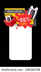 Exclusive products sellout 55 off price raster web site template. Presents and gifts in shopping basket, promotion and clearance of shops, sale goods
