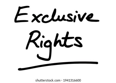 Exclusive Rights, handwritten on a white background.