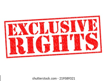 EXCLUSIVE RIGHTS red Rubber Stamp over a white background.