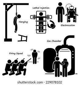 Execution Death Penalty Capital Punishment Modern Methods Stick Figure Pictogram Icons
