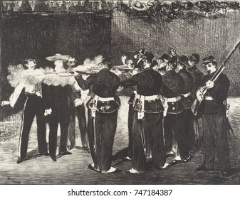 Execution of the Emperor Maximilian, by Edouard Manet, 1868, French Impressionist lithograph print. The Hapsburg prince was installed as monarch of Mexico by the French in 1864, while the US was embro