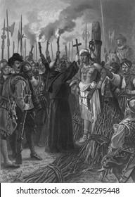 Execution of the last Incan Emperor, Atahuallpa (1497-1533), by Spanish conquistador, Francisco Pizzaro, on August 29, 1533.