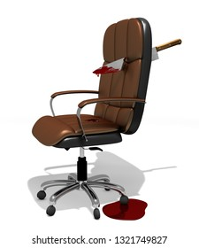 executive chair brokethrough by big knife as metaphor about rivalry at office, 3D Illustration