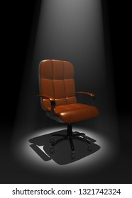 executive chair on stage in Light beam, 3D Illustration