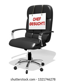 executive chair vacant, successor wanted, 3D Illustration