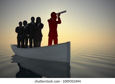 Executive leader and team on boat with a telescope at sunrise in 3d rendering. A successful team of executives led by a great leader looking through a telescope on a boat navigating towards success
