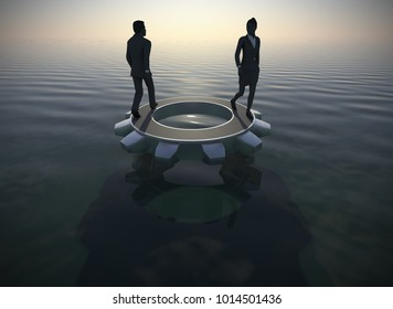 Executive managers walking around a gear on the ocean at sunset as 3d render. Two executives walking managers walking around a gear on the ocean at sunset demonstrating their teamwork and success.