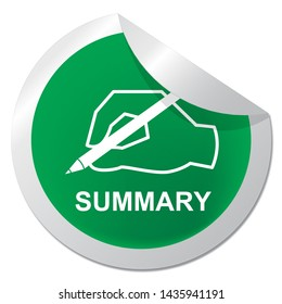 Executive Summary Badge Icon Showing Short Condensed Report Roundup 3d Illustration. Summing Up Information Or Analysis