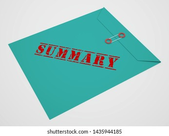Executive Summary Definition Icon Showing Short Condensed Report Roundup 3d Illustration. Summing Up Information Or Analysis