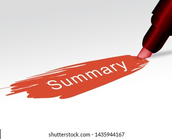 Executive Summary Text Icon Showing Short Condensed Report Roundup 3d Illustration. Summing Up Information Or Analysis