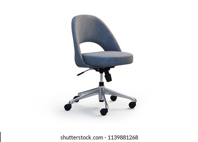 Executive task side chair with metal base on wheels and seat height adjustment mechanism. Office chair on white background with shadows. 3d render