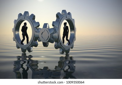 Executive team walking inside gears at sea since dawn in 3D rendering. A team of two executives walking inside gears at sea at dawn demonstrates their talent and effectiveness.